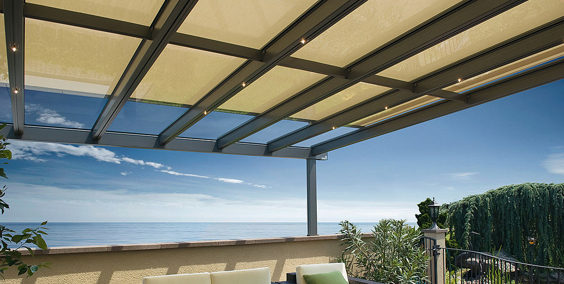 Glass roof system - TERRADO GP5100 - dimmable LED light | Sun Protection  and Weather Protection - Glass Roof System Sun Protection With STOBAG