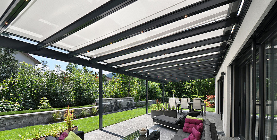 Glass roof system - TERRADO GP5100 | Sun Protection and Weather Protection  with STOBAG - Glass Roof System Sun Protection With STOBAG