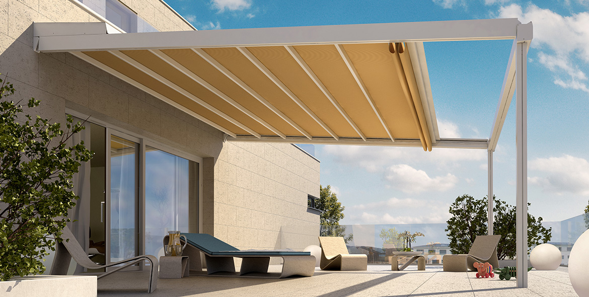 pergola stores pour terrasse protection solaire avec stobag. Black Bedroom Furniture Sets. Home Design Ideas